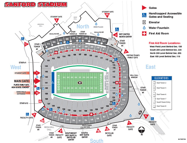Sanford Stadium   Seating Diagram   University of Georgia