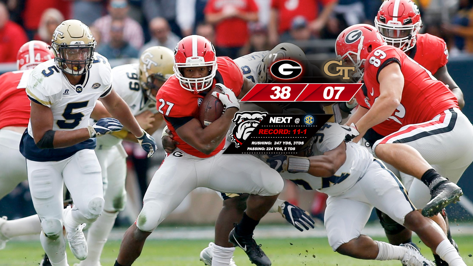 401560be812 Bulldogs Roll Over Yellow Jackets, 38-7 - University of Georgia ...