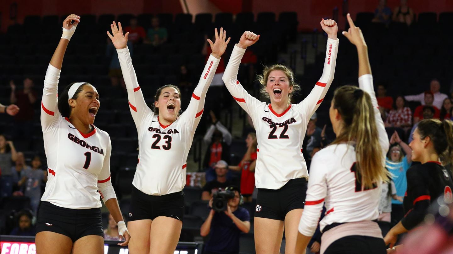 Photo: Kaylah House (1), Kacie Evans (23), Meghan Donovan (22), and Brynn Chandler (12) - University of Georgia volleyball